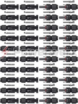 Picture of 20 Pairs MC4 Male/Female Solar Panel Cable Connectors