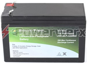 Picture of Bioenno BLF-1209AS 12V, 9Ah Lithium Iron Phosphate (LiFePO4) Battery, ABS