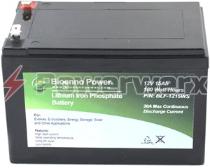 Picture of Bioenno BLF-1215AS 12V, 15Ah Lithium Iron Phosphate (LiFePO4) Battery, ABS