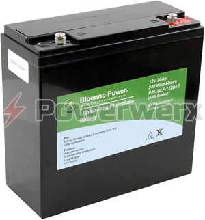 Picture of Bioenno BLF-1220AS 12V, 20Ah Lithium Iron Phosphate (LiFePO4) Battery, ABS