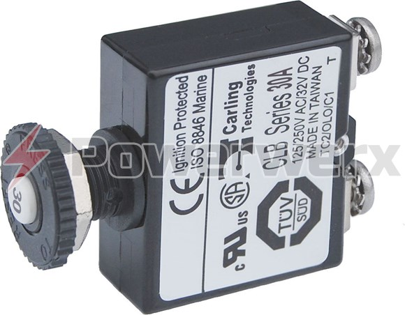 Picture of Blue Sea 2136 Push Button Reset Only Screw Terminal Circuit Breaker 30 Amps