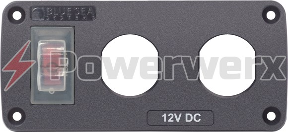 Picture of Blue Sea 4364 Water Resistant 2 Position Blank Panel with Circuit Breaker