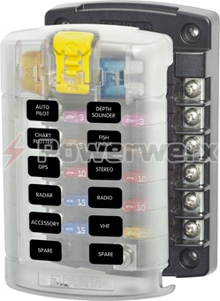 Picture of Blue Sea 5029 12 Circuit Blade Fuse Block with Cover