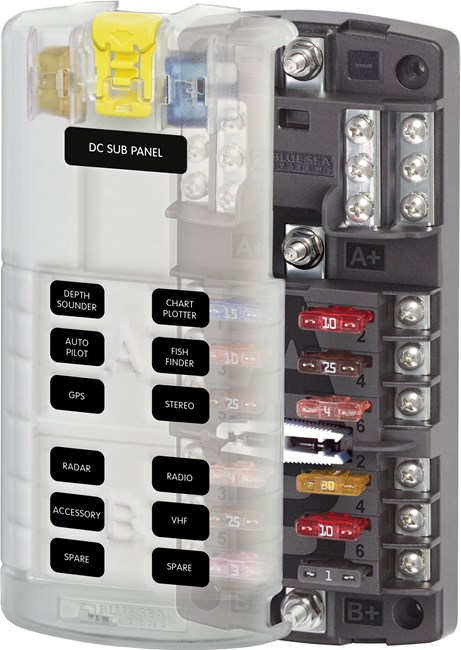 Picture of Blue Sea 5032 12 Circuit Split Bus Fuse Block with Ground and Cover