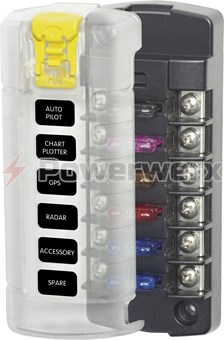Picture of Blue Sea 5035 6 Independent Circuit Fuse Block with Cover