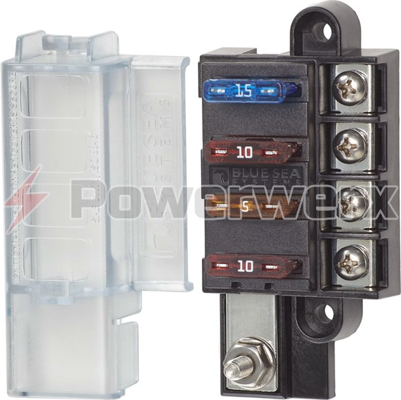 Picture of Blue Sea 5045 4 Circuit ST Blade Compact Fuse Block with Cover, 4 Circuits