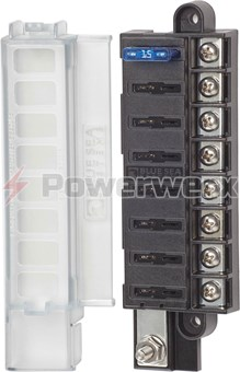 Picture of Blue Sea 5046 8 Circuit ST Blade Compact Fuse Block with Cover, 8 Circuits