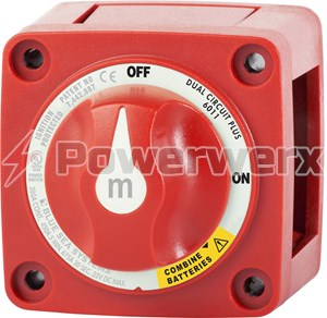 Picture of Blue Sea 6011 m-Series Mini Dual Circuit Plus Battery Switch Red