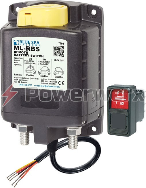 Picture of Blue Sea 7700 ML-RBS Remote Battery Switch with Manual Only Control 12V DC 500A