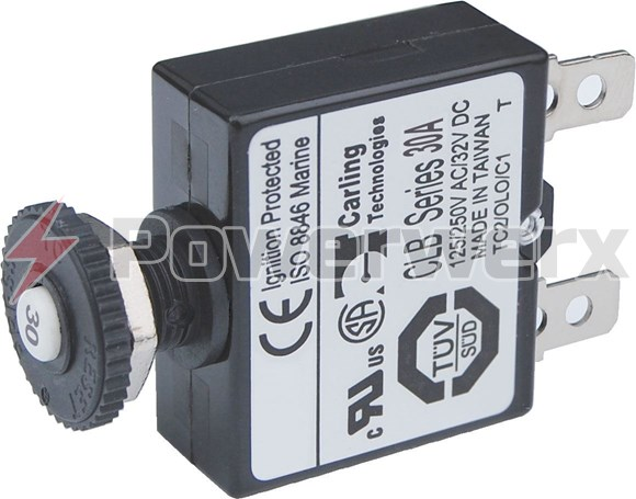 Picture of Blue Sea Push Button Reset Only Quick Connect Circuit Breakers 3A to 30A