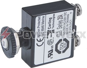 Picture of Blue Sea Push Button Reset Only Screw Terminal Circuit Breakers 10A to 25A