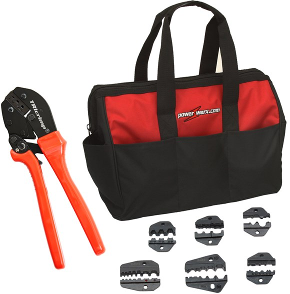 Picture of CrimpBag, the best Powerpole crimping tool and accessory die sets in a custom nylon gear bag