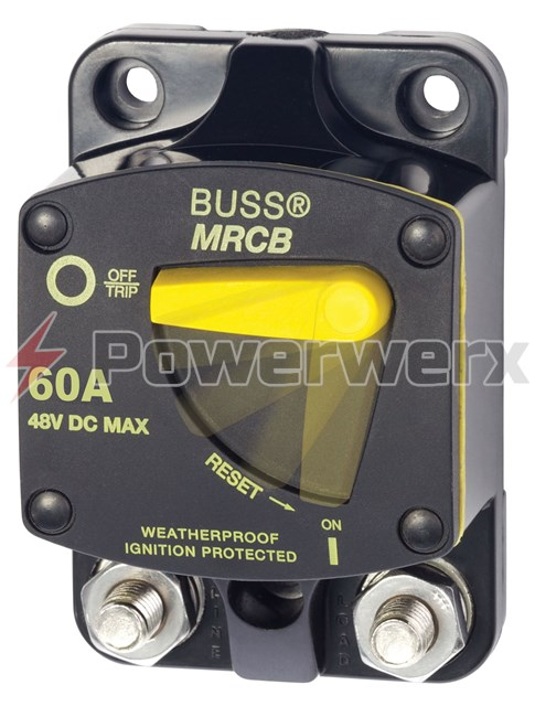 Picture of Eaton Bussmann 187F Series Resettable Waterproof Circuit Breaker Surface Mount, 60A
