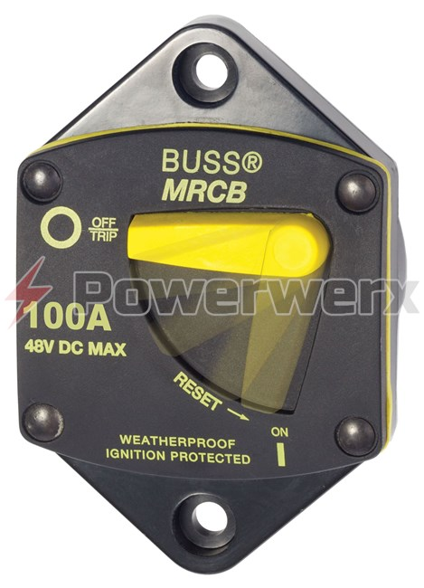 Picture of Eaton Bussmann 187P Series Resettable Waterproof Circuit Breaker Panel Mount, 100A