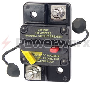 150 Amp Bussmann CB187F-150 Weatherproof Marine Rated High Amp Type III Flush Mount Circuit Breaker 1 Pack