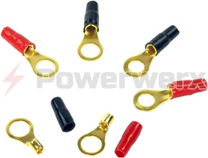 Picture of Gold Ring Crimp Terminals with Color Coded Boots (12 to 8 AWG)
