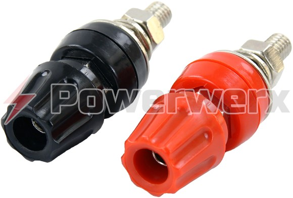 "Picture of Heavy Duty Binding Post Red/Black Pair for 1/4"" Ring Terminals (M6)"