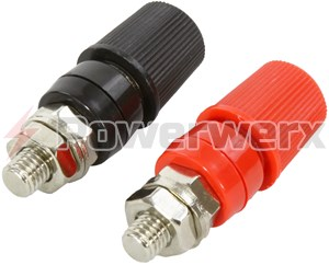 "Picture of Heavy Duty Binding Post Red/Black Pair for 5/16"" Ring Terminals"