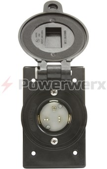 Picture of Marinco Manual AC Receptacle Inlet 120VAC, 20A, Water Tight, Black Color