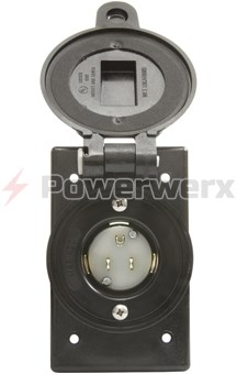 Picture of Marinco Manual AC Receptacle Inlet 120VAC,15A, Water Tight, Black Color