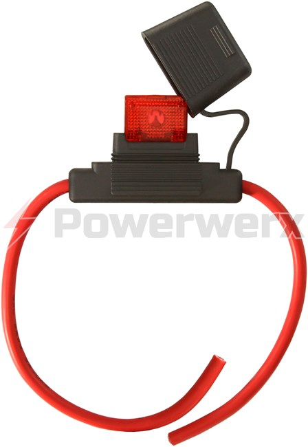 Maxi Style Inline Fuse Holder (Gauge: 8, Color: Red) | Powerwerx