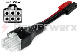 Picture of OEM Molex type 6 pin connector (HF6) to Powerpole adapter