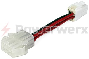 Picture of OEM Molex type 6 pin female socket (HFSOC) to New style HF 4 pin connector (HF4)