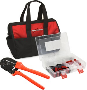 Picture of PowerpoleBag, the best Powerpole crimping tool and assorted Powerpole case in a custom nylon gear bag