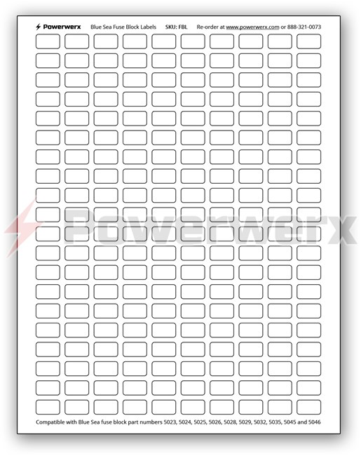 powerwerx fbl 200 count label sheet for blue sea fuse