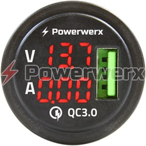 Picture of Powerwerx Panel Mount Combination Single USB QC 3.0 with Red LED Volt & Amp Display