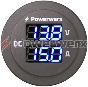 Picture of Powerwerx Panel Mount Combo Amp & Volt Meter for 12/24V Systems