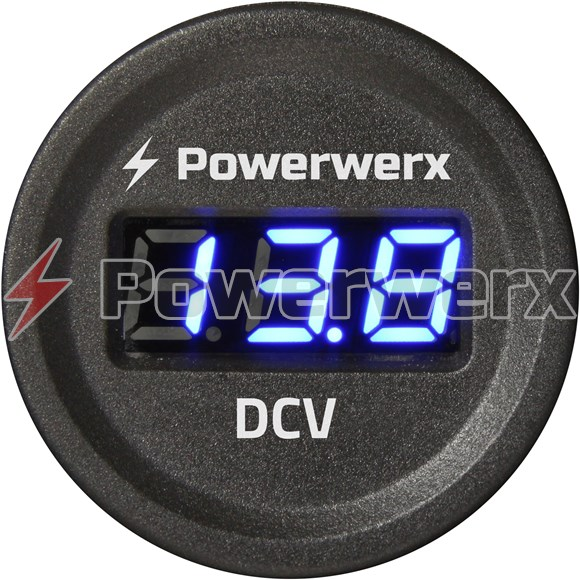 Picture of Powerwerx Panel Mount Digital Blue Volt Meter for 12/24V Systems