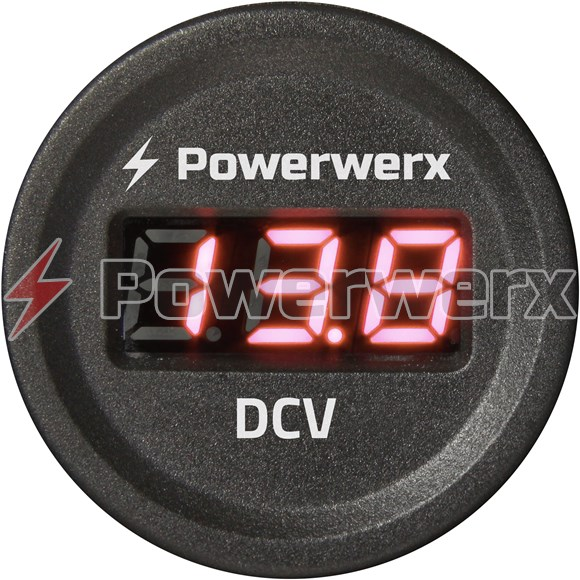 Picture of Powerwerx Panel Mount Digital Red Volt Meter for 12/24V Systems