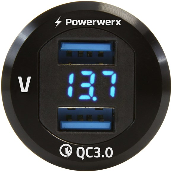 Picture of Powerwerx Panel Mount Dual USB QC 3.0 with Blue LED Voltage Display