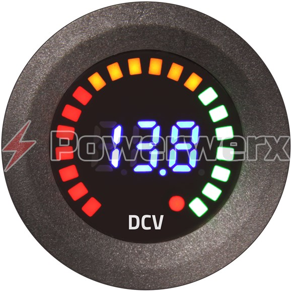 Picture of Powerwerx Panel Mount Segmented Digital Volt Meter with Graphic Racing Display