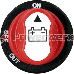 Picture of Powerwerx PanelHDSW-K Heavy Duty 100A Panel Mount ON-OFF Battery Switch with Removable Knob