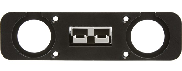 "Picture of Powerwerx PanelPlateSB3 for Anderson SB50 Series Connectors with Two Panel Mount 1-1/8"" Holes"