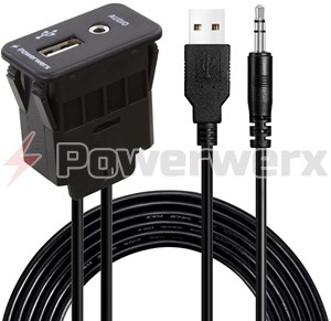 Picture of Powerwerx Switch Mounted Combination USB 2.0 and 3.5mm Stereo Jack with 8 ft. Extension Cables
