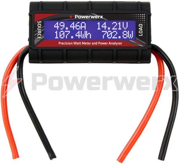 Picture of Powerwerx Watt Meter, DC Inline Power Analyzer, 45A Continuous, 12 Gauge, Bare Wire Ends