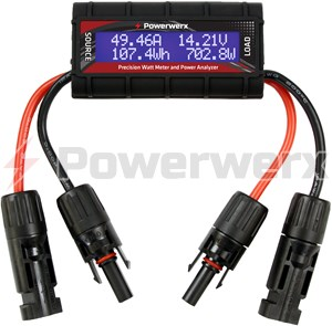 Picture of Powerwerx Watt Meter, DC Inline Power Analyzer, 45A Continuous, 12 Gauge, MC4 Solar Connectors