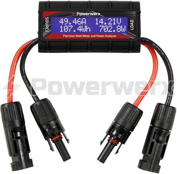 Picture of Powerwerx Watt Meter, DC Inline Power Analyzer, 45A Continuous, 12 Gauge, MC4 Solar Connectors