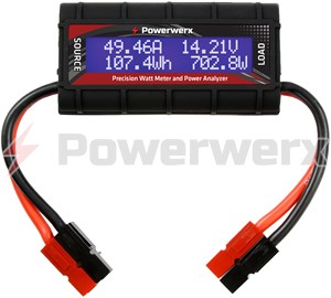 Picture of Powerwerx Watt Meter, DC Inline Power Analyzer, 45A Continuous, 12 Gauge, Powerpole Connectors