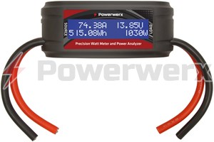 Picture of Powerwerx Watt Meter Plus, DC Inline Power Analyzer, 75A Continuous, 8 Gauge, Bare Wire Ends
