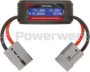 Picture of Powerwerx Watt Meter Plus, DC Inline Power Analyzer, 75A Continuous, 8 Gauge, SB50 Powerpole Connectors