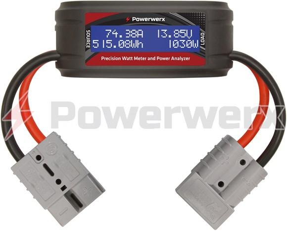 Picture of Powerwerx Watt Meter Plus, DC Inline Power Analyzer, 75A Continuous, 8 Gauge, SB50 Powerpole Connectors