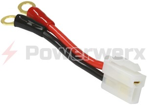"Picture of Short DC Power Supply Adapter Cable OEM-T to 1/4"" Ring Terminals"