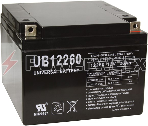 Picture of UPG UB12260 D5747 12V 26Ah T3 Terminal Sealed Lead Acid (SLA) Battery
