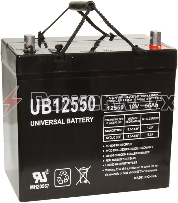 Picture of UPG UB12550 Group 22NF 12V 55Ah Z1 Terminal Sealed Lead Acid (SLA) Battery