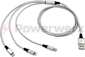 Picture of USB3in1 Silver Adaptor Cable, USB input to Apple Lightning, USB Type C and USB Micro